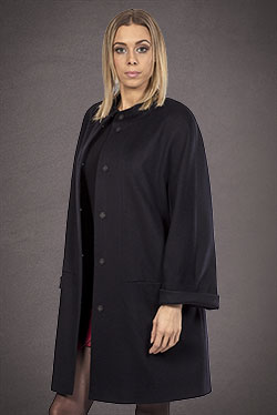 Meldes De Luxe – 100% Cashmere coat stand collar – Dark blue – Ref: 017-2-02