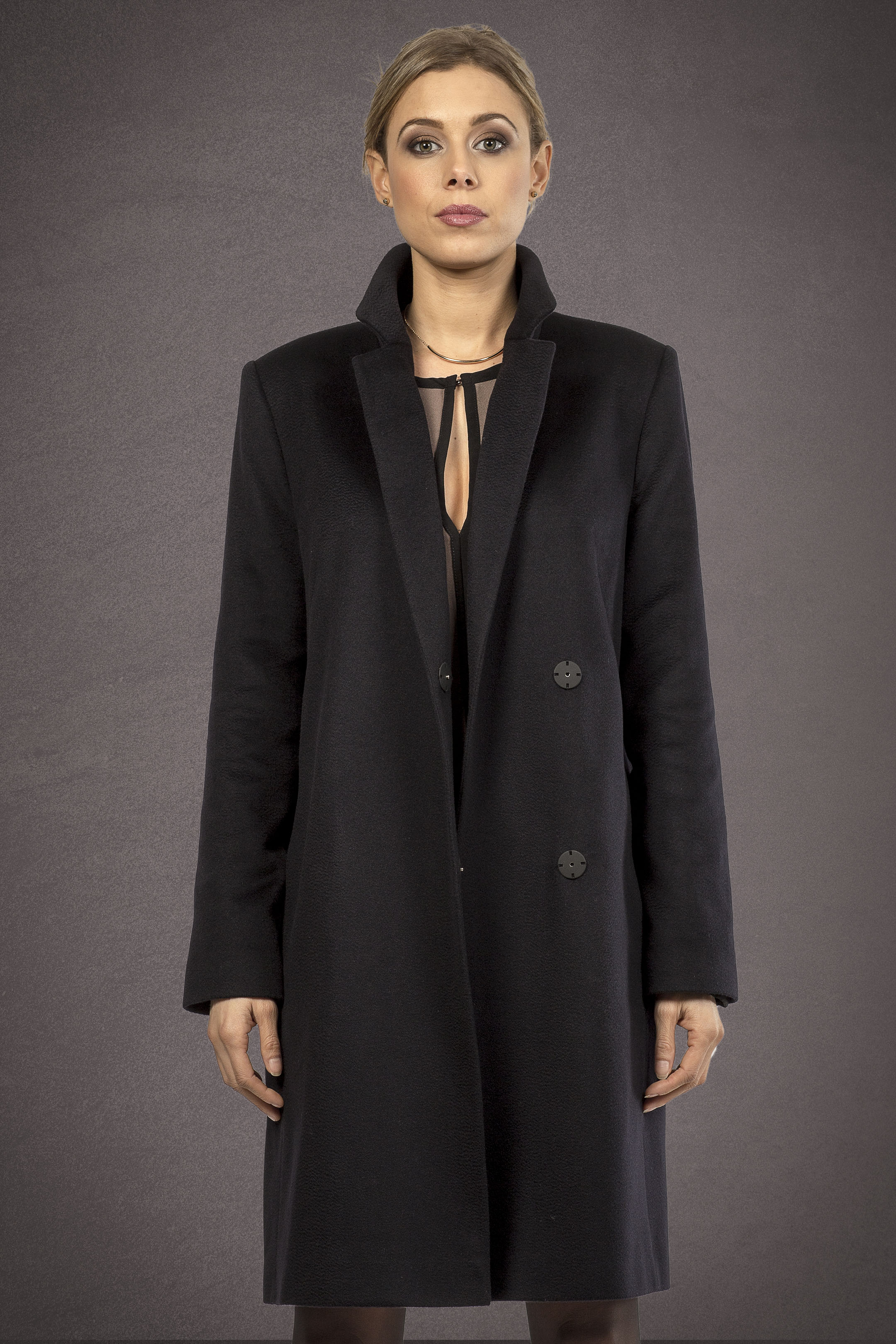 Meldes De Luxe – Double breasted 100% cashmere coat – Dark blue - Ref: 393-2-02