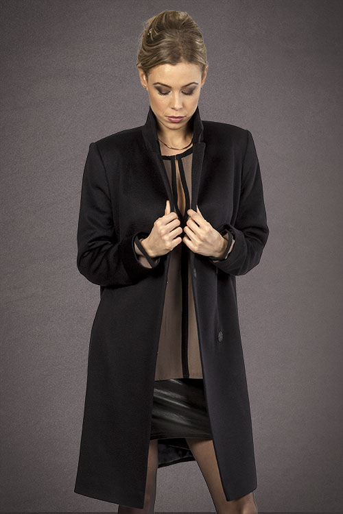 Meldes De Luxe – Double breasted 100% cashmere coat – Dark blue – Ref: 393-2-02