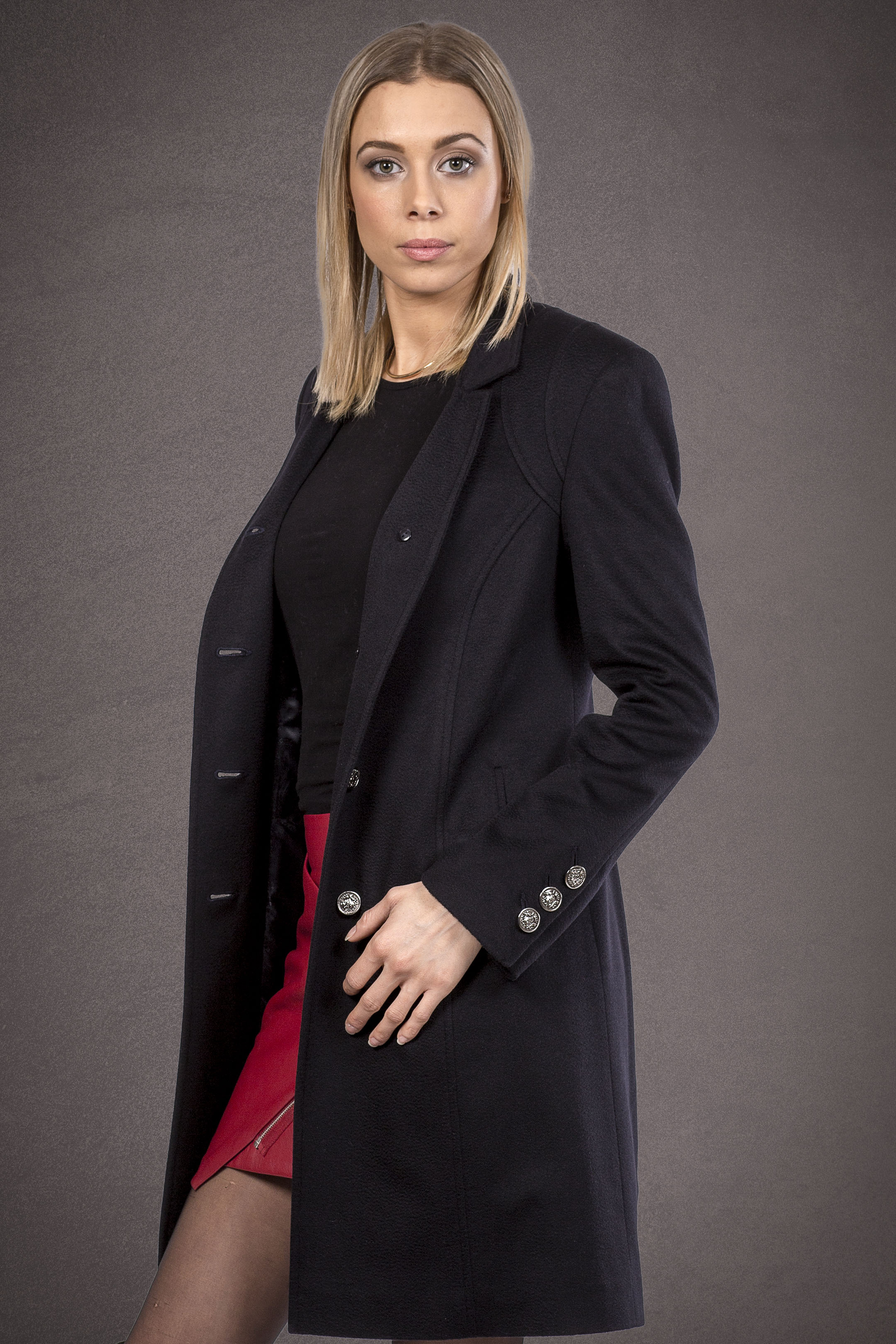 Meldes De Luxe – Fitted 100% cashmere coat with tailored collar - Dark blue – Ref: 375-2-02
