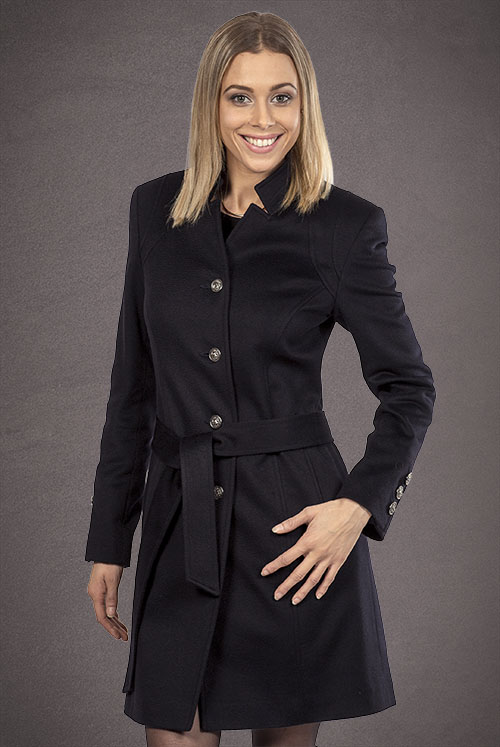 Meldes De Luxe – Fitted 100% cashmere coat with tailored collar – Dark blue – Ref: 375-2-02