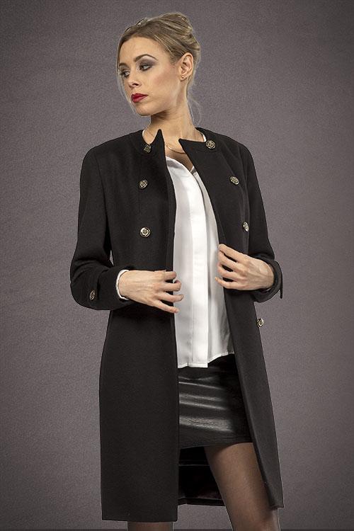 Meldes De Luxe – Fitted wool coat no collar – Black – Ref: 389-1-01
