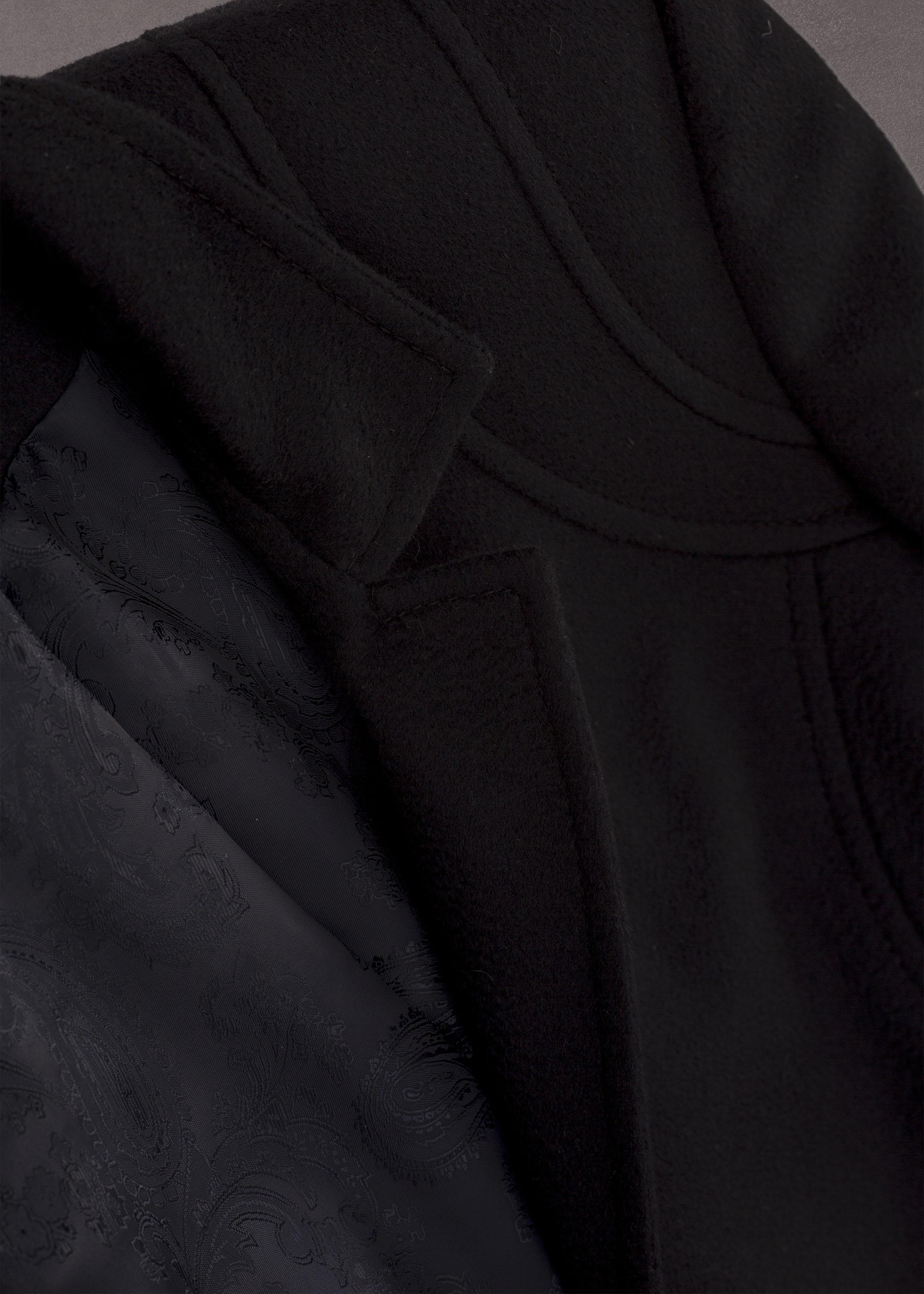 Meldes De Luxe – Manteau 100% cachemire cintré col tailleur - Bleu nuit – Réf: 375-2-02