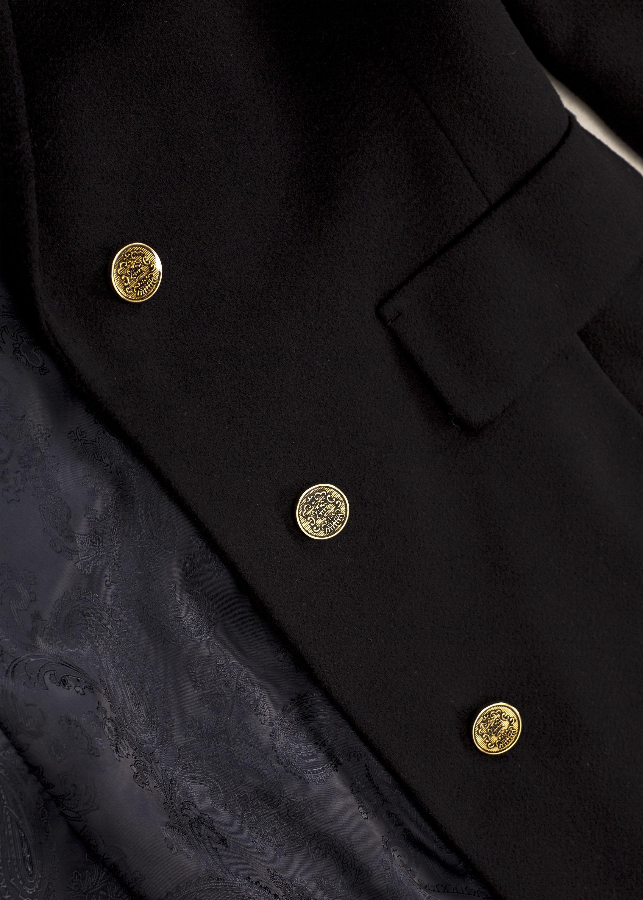 Meldes De Luxe – Manteau 100% cachemire cintré large col tailleur – Bleu nuit - Réf: 455-2-02