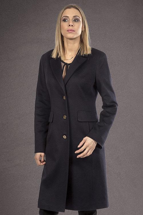 Meldes De Luxe – Manteau 100% cachemire cintré large col tailleur – Noir – Réf: 455-2-01
