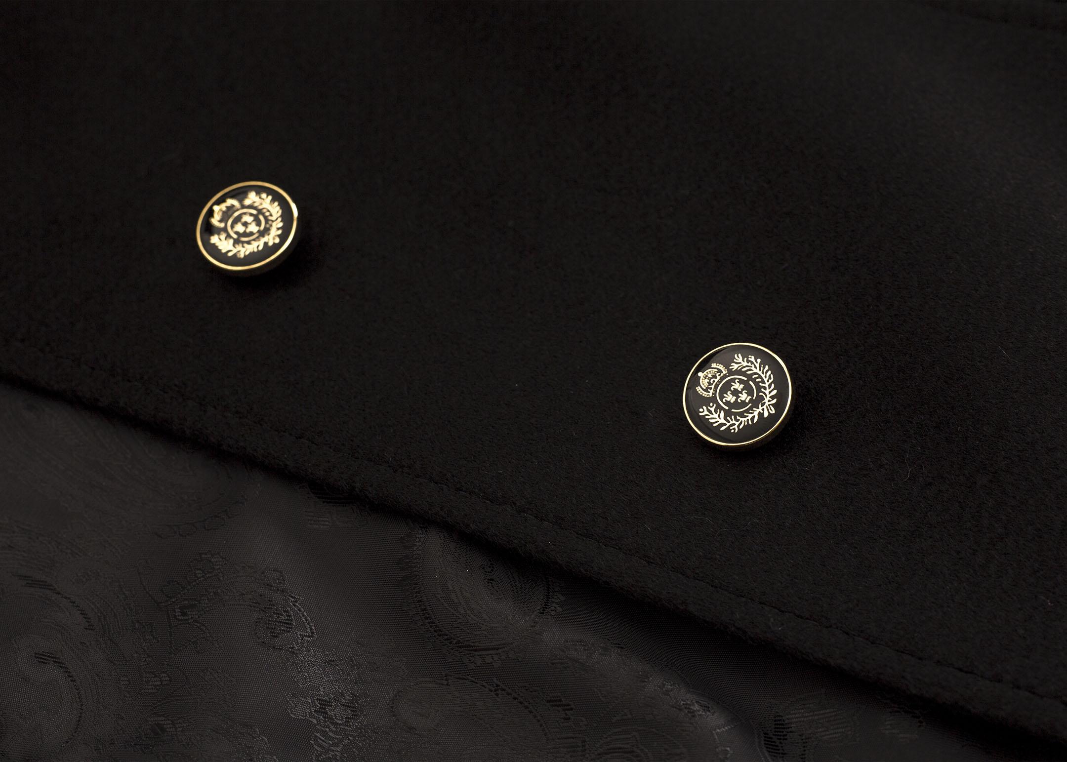 Meldes De Luxe – Manteau 100% cachemire cintré large col tailleur – Noir - Réf: 455-2-01