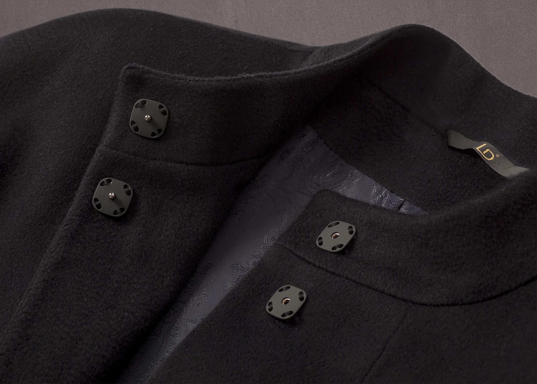 Meldes De Luxe – Manteau 100% cachemire col officier – Bleu nuit – Réf: 017-2-02