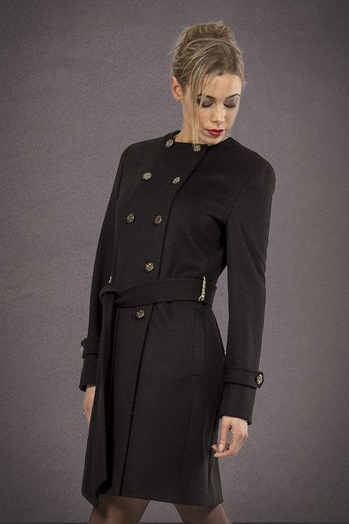 Meldes De Luxe – Manteau laine cintré sans col – Noir – Réf: 389-1-01