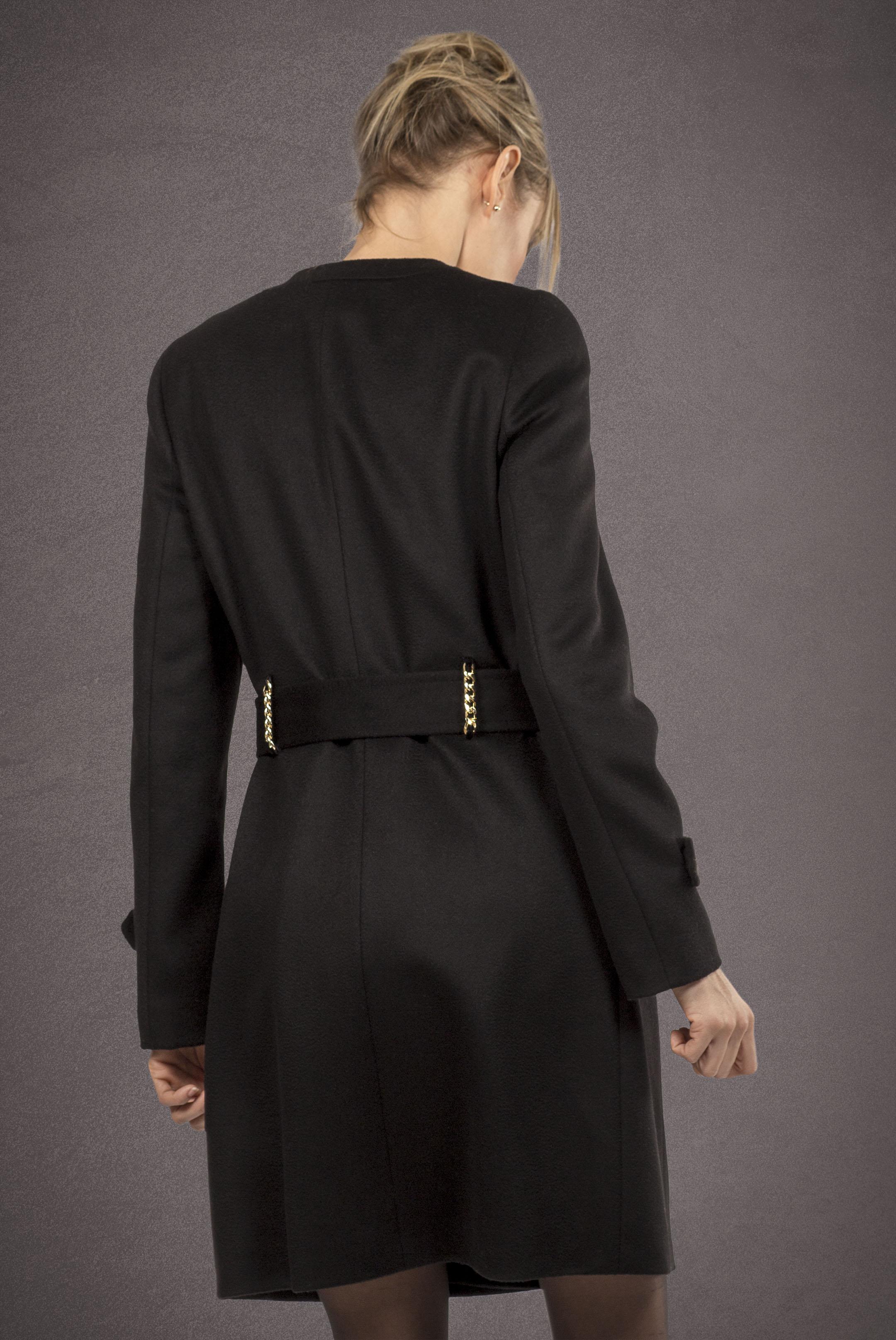 Meldes De Luxe – Manteau laine cintré sans col - Noir - Réf: 389-1-01