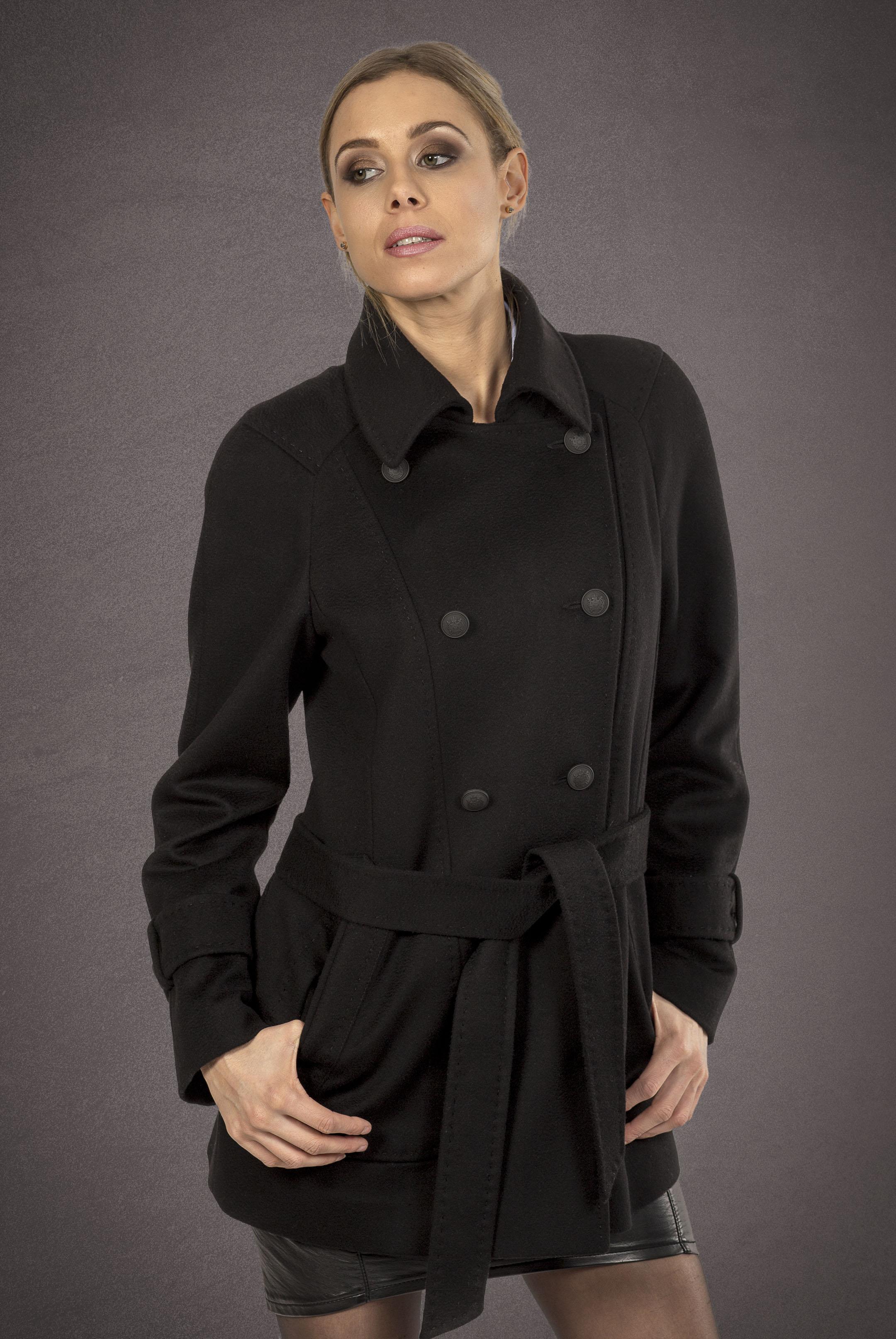 Meldes De Luxe – Manteau laine court – Noir - Réf: 457-1-01