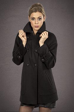 Meldes De Luxe – Manteau laine court – Noir – Réf: 457-1-01