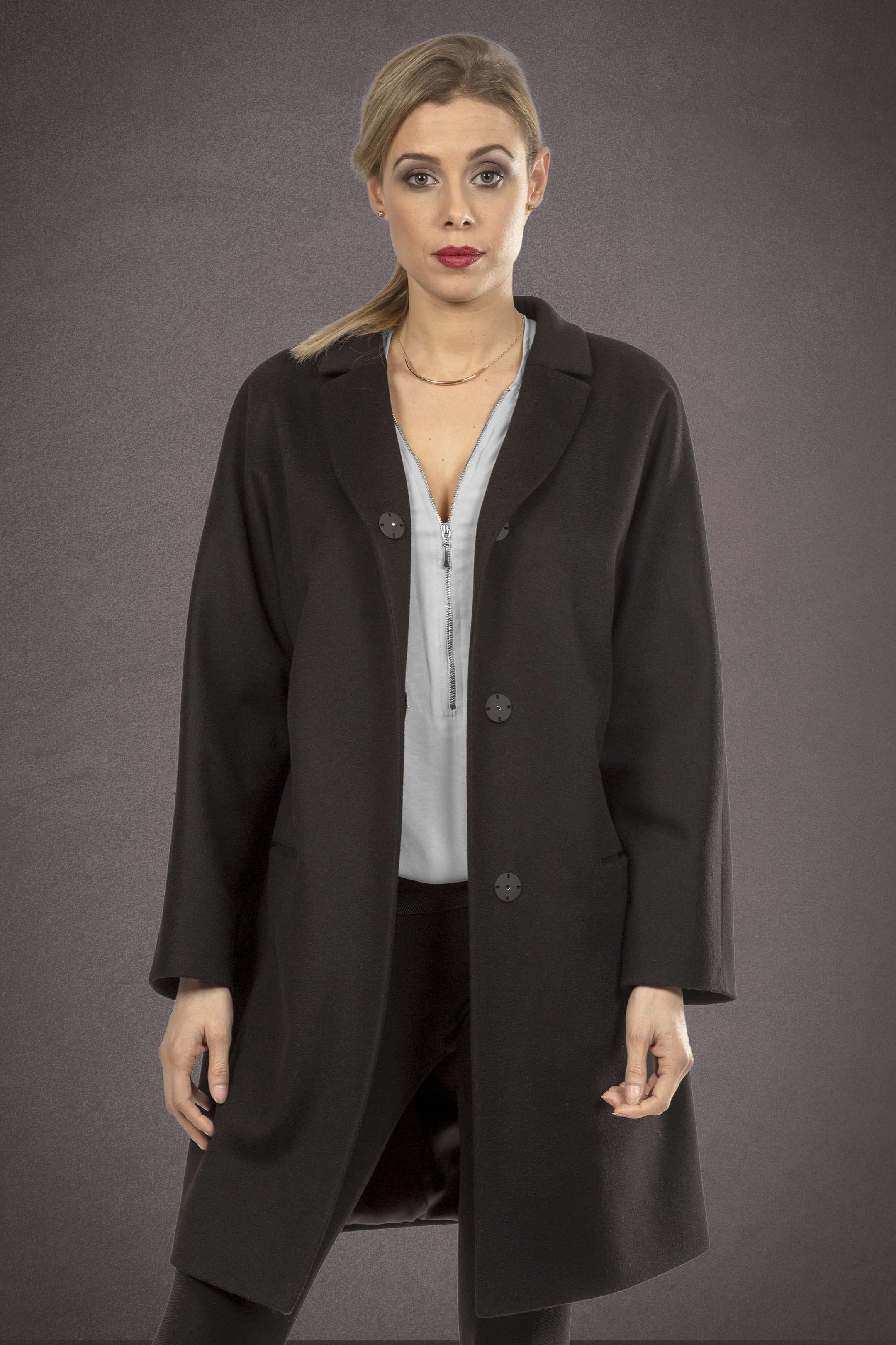 Meldes De Luxe – Manteau laine large col tailleur – Noir – Réf: 371-1-01