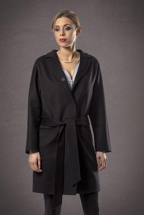 Meldes De Luxe – Wool coat wide collar – Black – Ref: 371-1-01