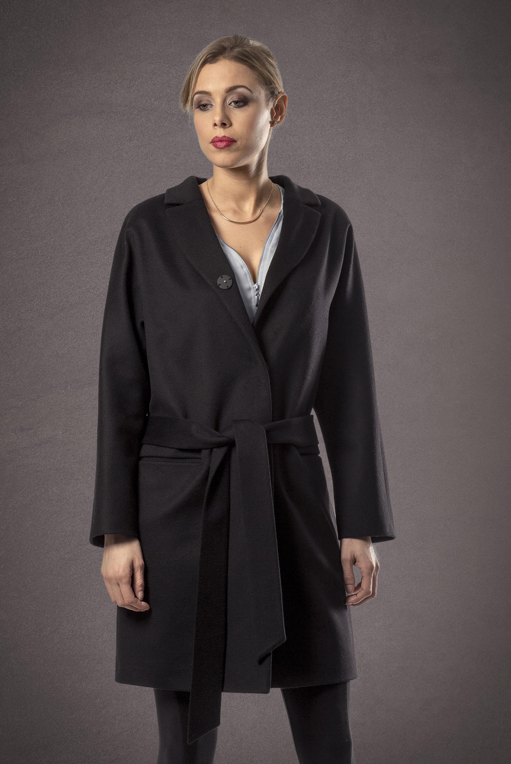 Meldes De Luxe Wool coat wide collar black 371-1-01